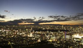 Por do sol da opinião aérea de Tokyo Japão Imagem de Stock