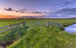 Por do sol da paisagem do po'lder Fotografia de Stock Royalty Free
