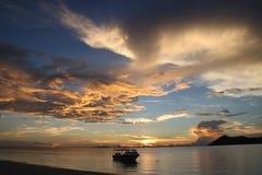 Por do sol da paisagem em Sabah fotos de stock