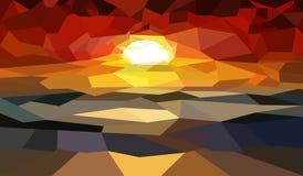 Por do sol da paisagem no mar ilustração stock