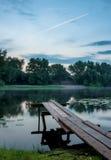 Por do sol da paisagem no rio Fotos de Stock