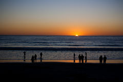 Por do sol da praia Foto de Stock Royalty Free