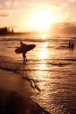 Por do sol da praia Fotografia de Stock Royalty Free