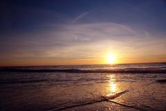 Por do sol da praia Imagem de Stock