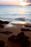 Por do sol da praia Fotografia de Stock