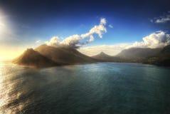 Por do sol da praia de África do Sul Capetown Fotos de Stock Royalty Free
