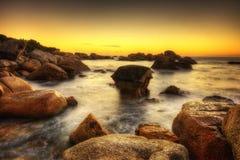 Por do sol da praia de África do Sul Capetown Fotografia de Stock