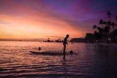 Por do sol 2 da praia de Boracay Imagens de Stock