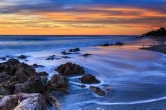 Por do sol da praia de Florida Fotografia de Stock Royalty Free