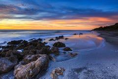 Por do sol da praia de Florida fotos de stock royalty free