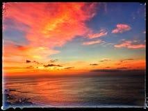 Por do sol da praia de Jimbaran Fotografia de Stock