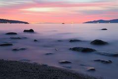 Por do sol da praia de Kitsilano Foto de Stock Royalty Free