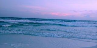 Por do sol da praia de Miramar fotografia de stock