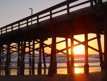 Por do sol da praia de Newport Imagem de Stock Royalty Free