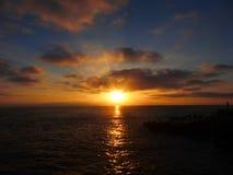 Por do sol da praia de Santa Monica Imagens de Stock