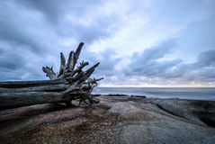 Por do sol da praia de Uvongo fotografia de stock