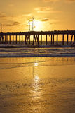 Por do sol da praia de Veneza Imagens de Stock