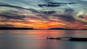 Por do sol da praia de Willingdon em Powell River BC Fotografia de Stock