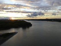 Por do sol da praia do por do sol da natureza de Irtysh do rio Foto de Stock