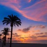 Por do sol da praia do sArenal do EL Arenal de Majorca perto de Palma Foto de Stock