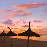 Por do sol da praia do sArenal do EL Arenal de Majorca perto de Palma Fotos de Stock