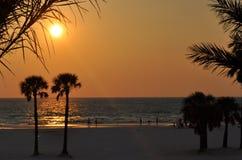 Por do sol da praia em florida Imagem de Stock