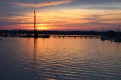 Por do sol da queda em Bern North Carolina novo fotografia de stock