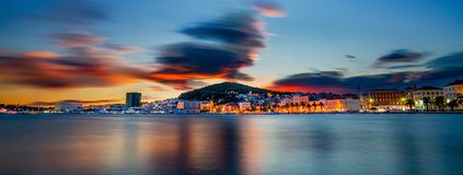 Por do sol da separação, Croácia Imagem de Stock Royalty Free