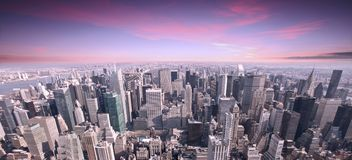 Por do sol da skyline da cidade de NYC Fotografia de Stock Royalty Free