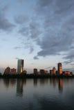 Por do sol da skyline de Boston Fotografia de Stock Royalty Free