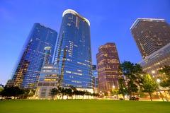 Por do sol da skyline de Houston Downtown em Texas E.U. imagem de stock royalty free