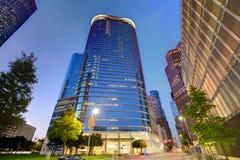 Por do sol da skyline de Houston Downtown em Texas E.U. Fotografia de Stock
