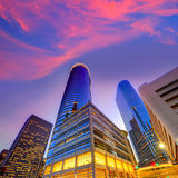 Por do sol da skyline de Houston Downtown em Texas E.U. imagem de stock