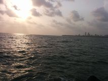Por do sol da skyline de Mumbai Fotografia de Stock Royalty Free