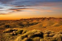 Por do sol da terra do deserto Imagens de Stock Royalty Free