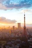 Por do sol da torre do Tóquio Fotografia de Stock Royalty Free