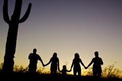 Por do sol da unidade da família Fotografia de Stock Royalty Free