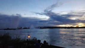 Por do sol da Zâmbia de Zambezi River Fotografia de Stock Royalty Free
