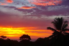 Por do sol das caraíbas sobre Sosua Foto de Stock Royalty Free