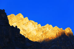 Por do sol das dolomites Imagem de Stock