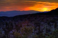 Por do sol das montanhas de Chiracahua Imagens de Stock