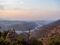 Por do sol das montanhas sicilianos Imagens de Stock
