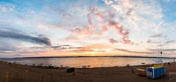 Por do sol 1 das pinturas de óleo - panorama grande Fotografia de Stock Royalty Free