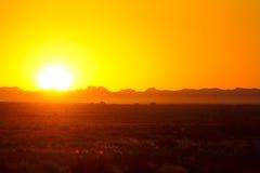 Por do sol de África Fotografia de Stock