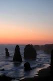 Por do sol de 12 apóstolos Fotografia de Stock