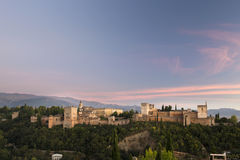 Por do sol de Alhambra Imagem de Stock