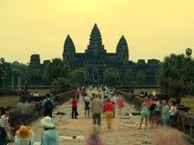 Por do sol de Angkor Wat Foto de Stock Royalty Free