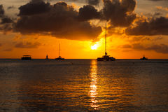 Por do sol de Aruba Foto de Stock Royalty Free