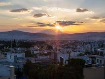 Por do sol de Atenas Fotografia de Stock