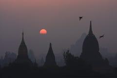 Por do sol de Bagan Imagem de Stock Royalty Free